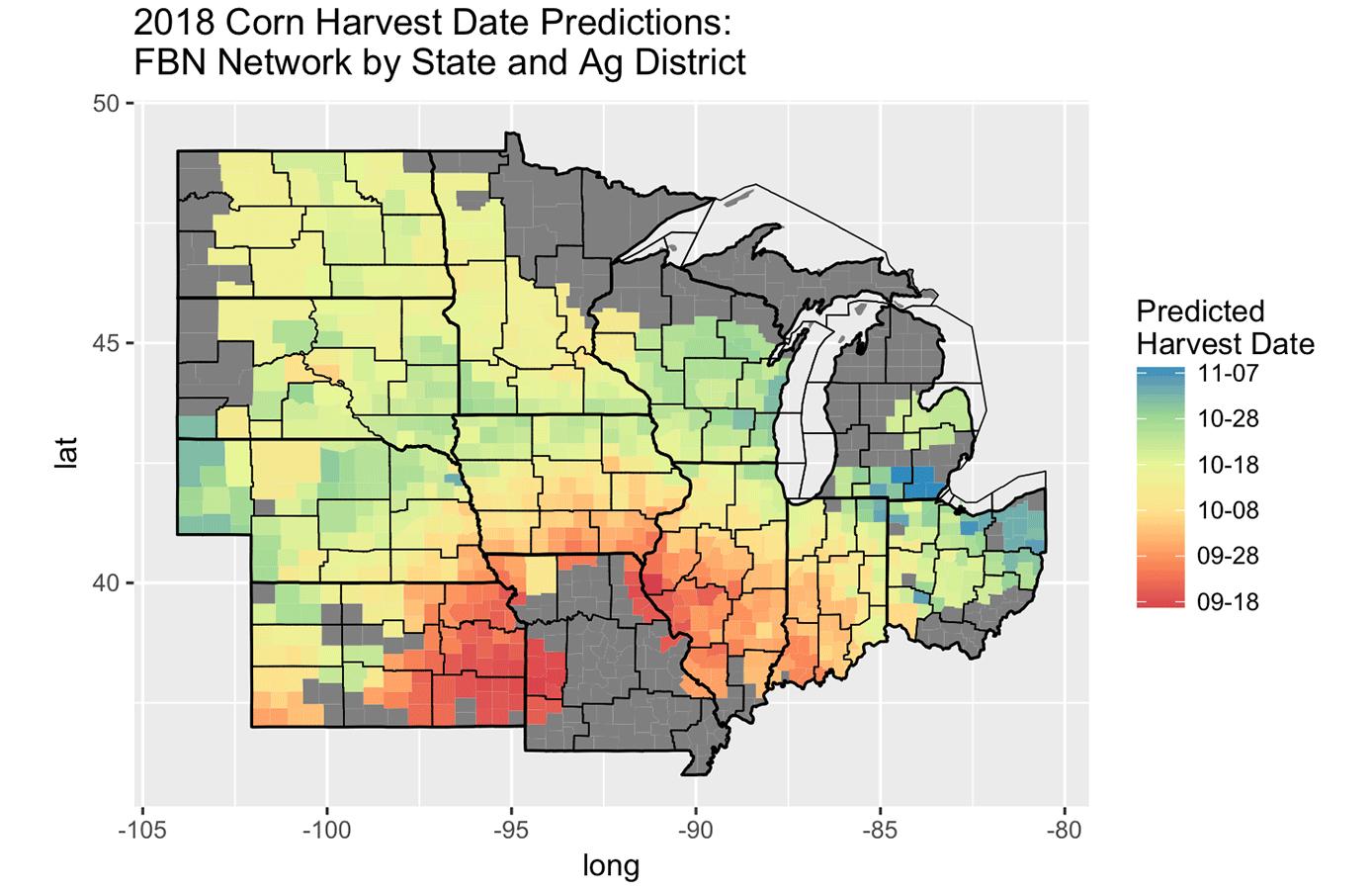 corn harvest prediction dates