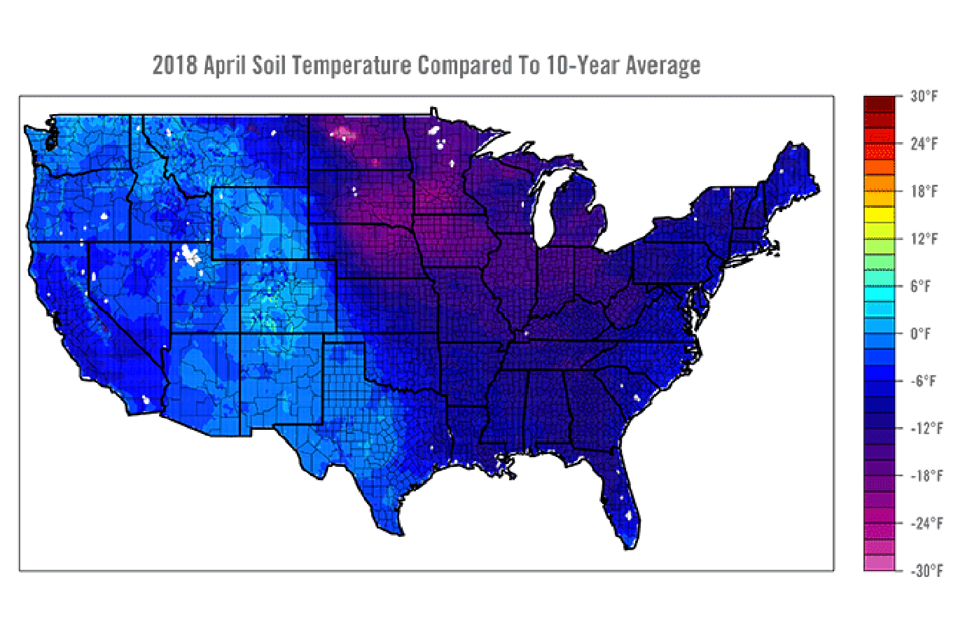 April 2018 soil temperature compared to 10 year average map